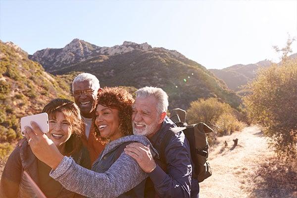 Seniors hiking outdoors