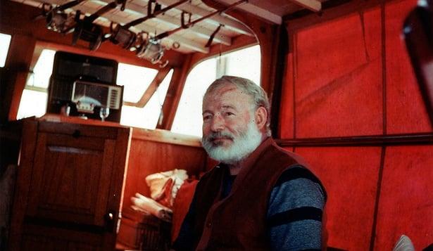 Ernest Hemingway in boat Pilar