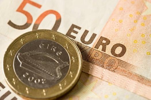 Irish Coin and Euro Note