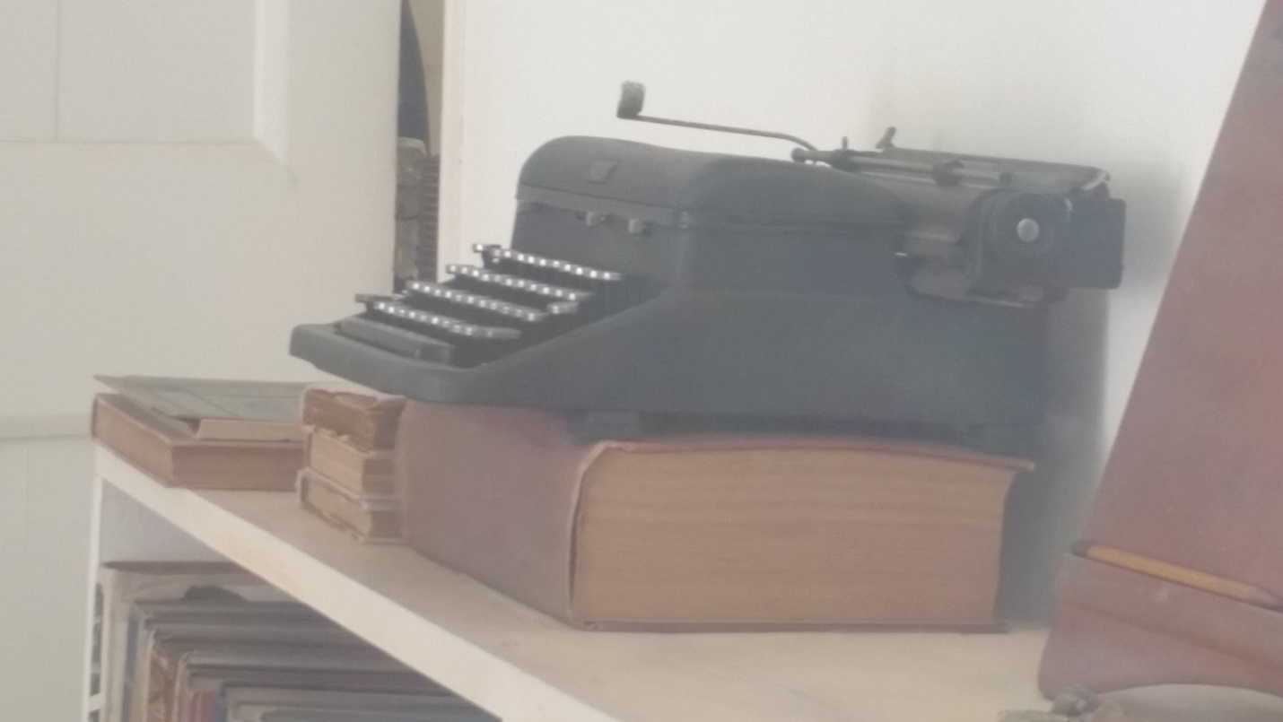 Typewriter in front of which Hemingway stood and wrote many of his great works