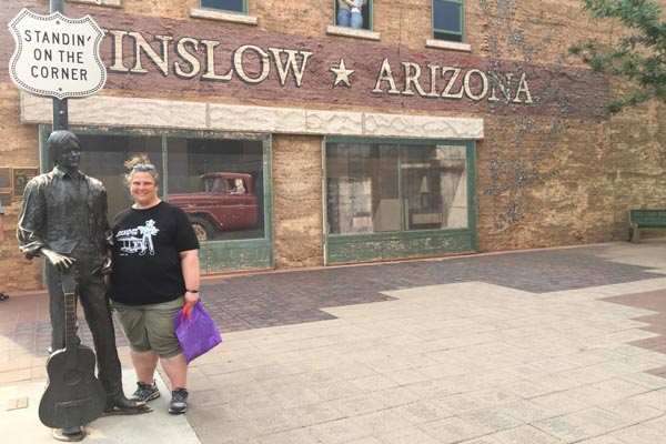 YMT Guest Route 66 Tour Winslow AZ Standin on the Corner