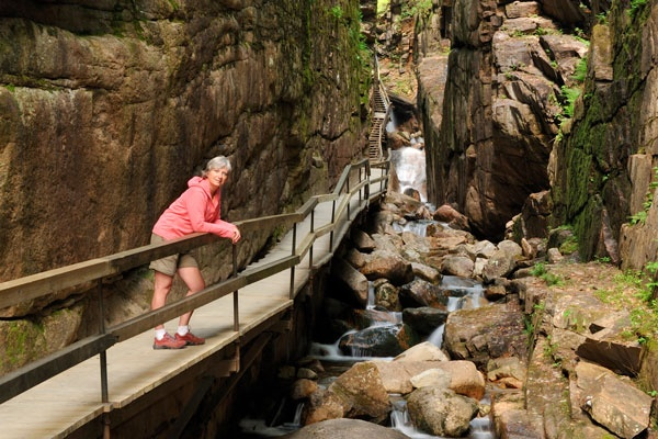 Woman In Flume Gorge Franconia Notch State Park