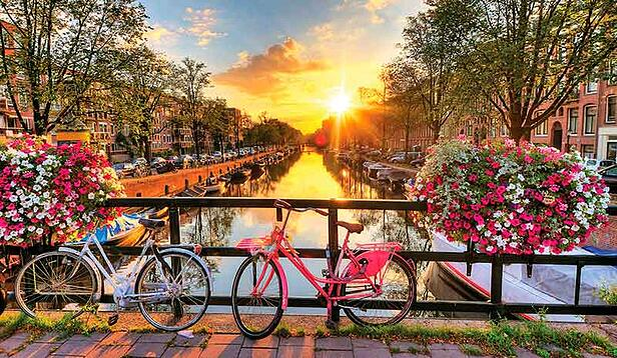 Cycling through Amsterdam